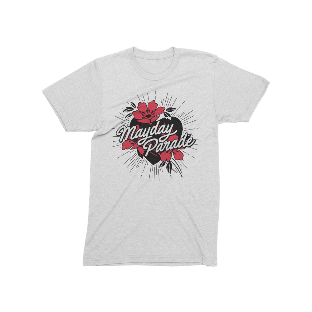 Heart/Flowers White