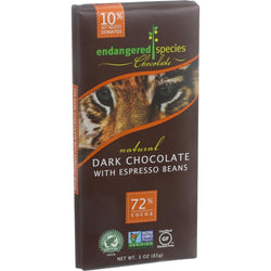 Endangered Species Natural Chocolate Bars - Dark Chocolate - 72 Percent Cocoa - Espresso Beans - 3 oz Bars - Case of 12