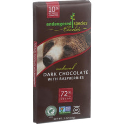 Endangered Species Natural Chocolate Bars - Dark Chocolate - 72 Percent Cocoa - Raspberries - 3 oz Bars - Case of 12