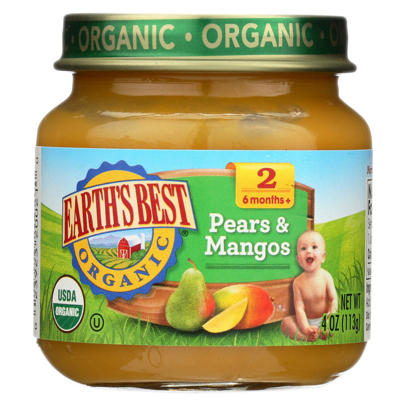 Earth's Best Organic Pears and Mangos Baby Food - Stage 2 - Case of 12 - 4 oz.