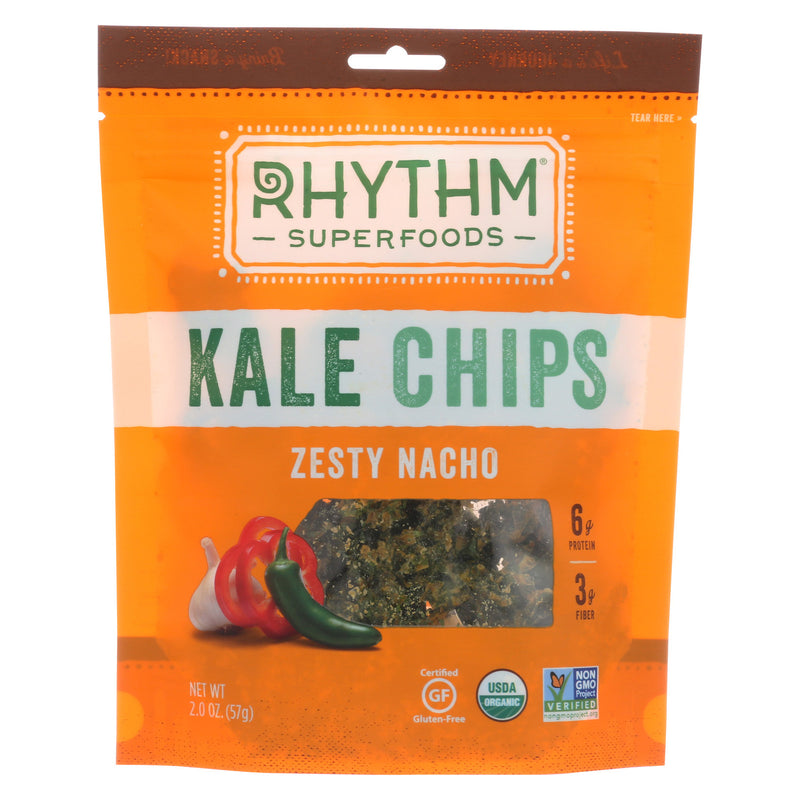 Rhythm Superfoods Kale Chips - Zesty Nacho - Case of 12 - 2 oz.