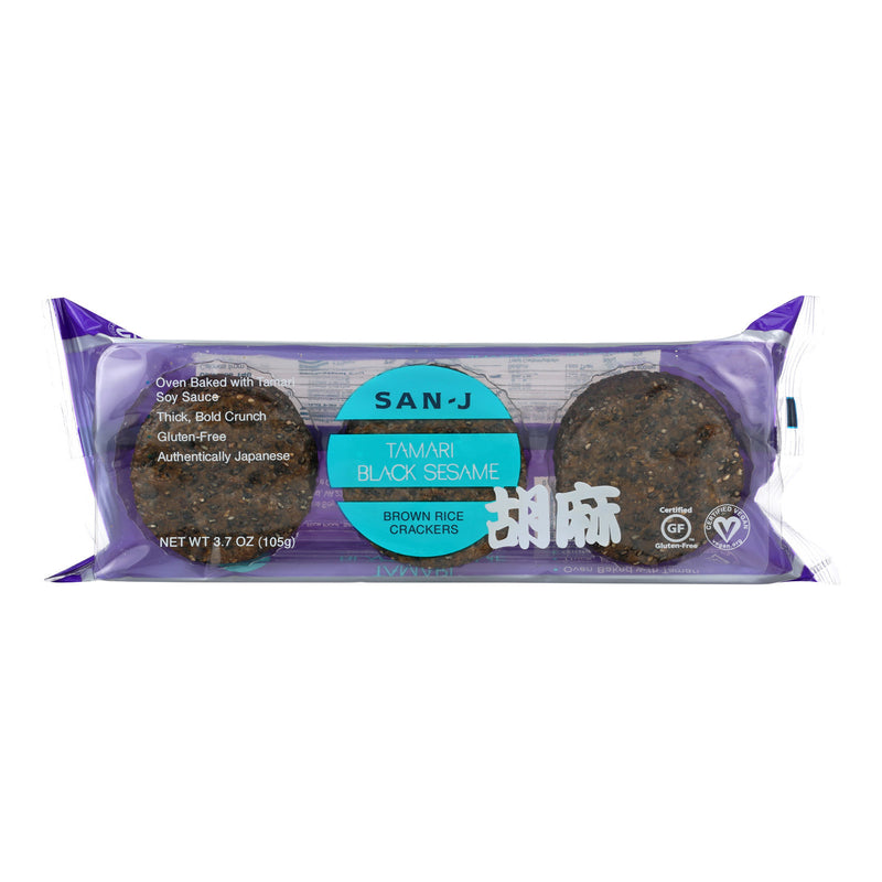 San - J Brown Rice Crackers - Black Sesame - Case of 12 - 3.7 oz.