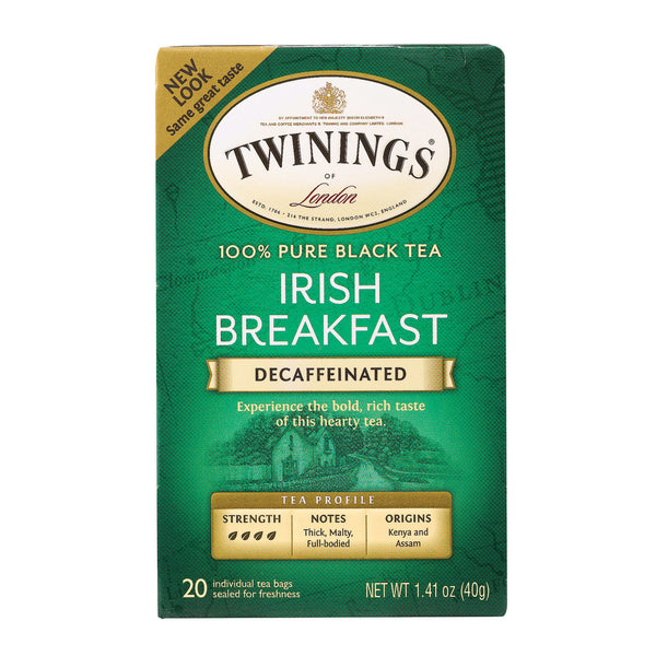 Twining's Tea Breakfast Tea - Irish, Decaf - Case of 6 - 20 Bags