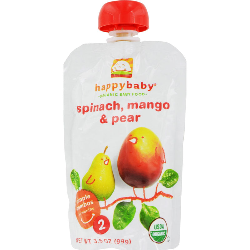 Happy Baby Organic Baby Food Stage 2 Spinach Mango and Pear - 4 oz - Case of 16