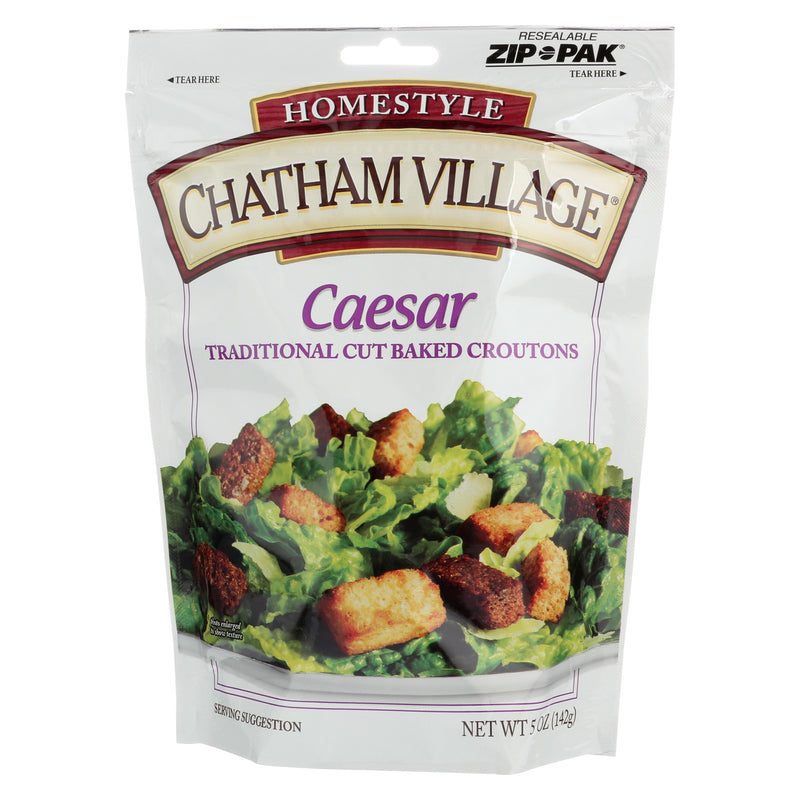 Chatham Village Traditional Cut Croutons - Caesar - Case of 12 - 5 oz.