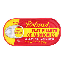 Roland Flat Fillets of Anchovies in Olive Oil, Salted - Case of 25 - 2 oz.