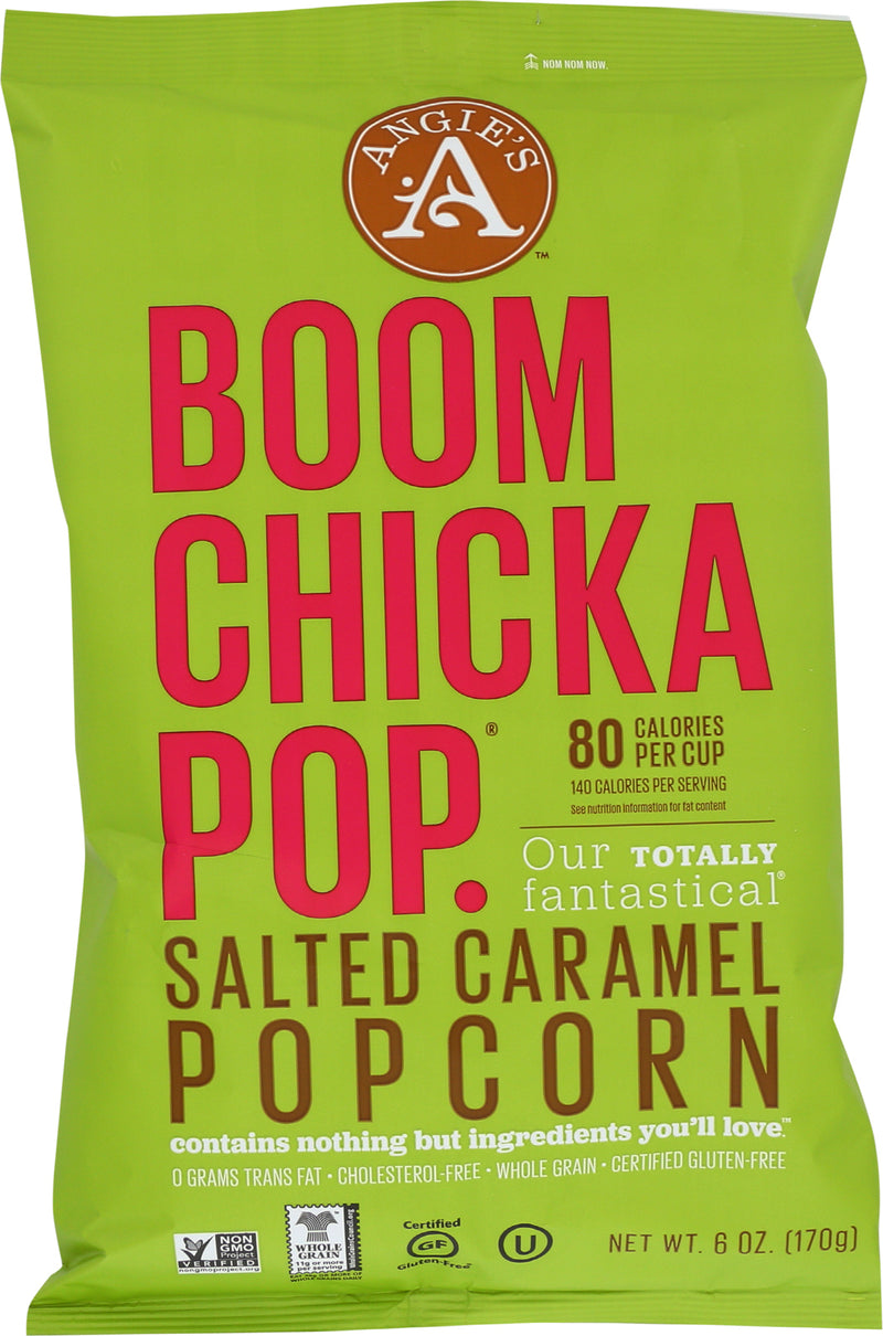 Angie's Kettle Corn Boom Chicka Pop Salted Caramel Popcorn - Case of 12 - 6 oz.