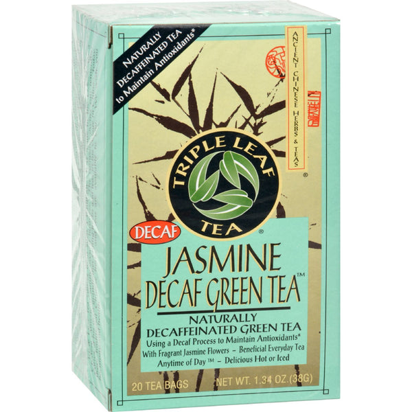 Triple Leaf Tea Jasmine Green Tea - Decaffeinated - Case of 6 - 20 Bags