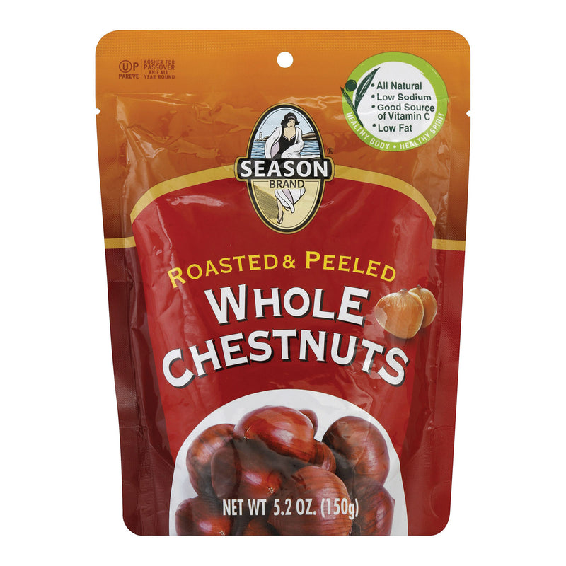 Season Brand Roasted and Peeled Whole Chestnuts - Case of 12 - 5.2 oz.