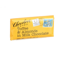 Chocolove Xoxox - Premium Chocolate Bar - Milk Chocolate - Toffee and Almonds - Mini - 1.3 oz Bars - Case of 12