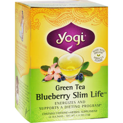 Yogi Green Slim Life Herbal Tea Blueberry - 16 Tea Bags - Case of 6