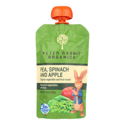 Peter Rabbit Organics Veggie Snacks - Pea, Spinach and Apple - Case of 10 - 4.4 oz.