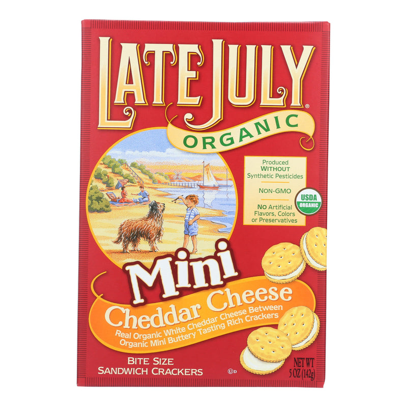 Late July Snacks Sandwich Crackers - Cheddar Cheese - Case of 12 - 5 oz.
