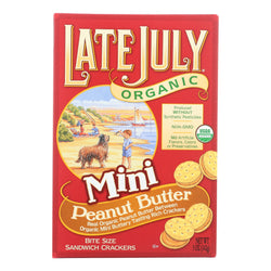 Late July Snacks Sandwich Crackers - Peanut Butter - Case of 12 - 5 oz.