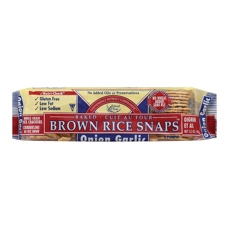 Edward and Sons Brown Rice Snaps - Onion Garlic - Case of 12 - 3.5 oz.