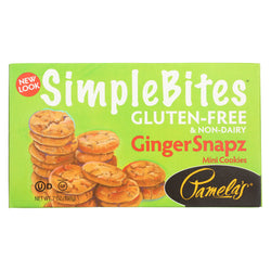 Pamela's Products - Snaps Simple bites Mini Cookies - Ginger - Case of 6 - 7 oz.