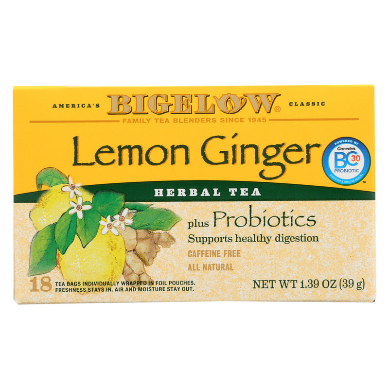 Bigelow Tea Herbal Tea - Plus Lemon Ginger - Case of 6 - 18 BAG