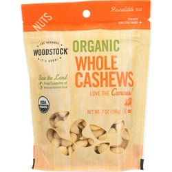 Woodstock Organic Cashews - Whole - Raw - Case of 8 - 7 oz.