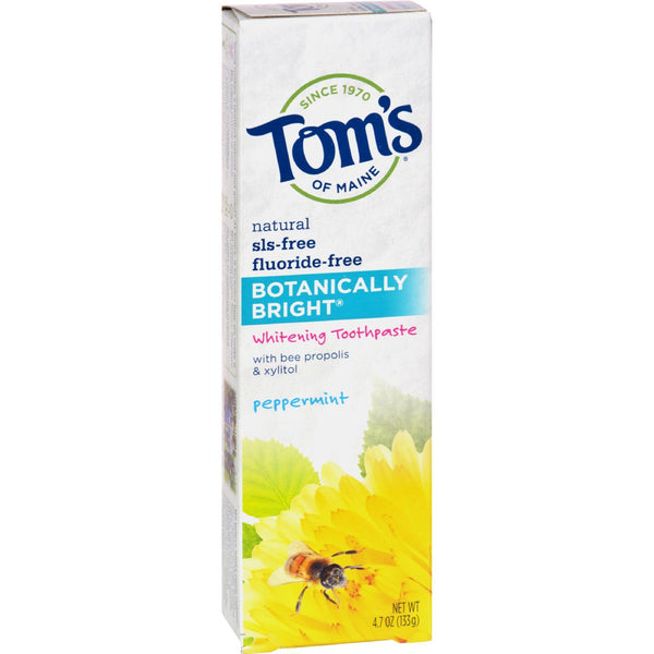 Tom's of Maine Botanically Bright Whitening Toothpaste Peppermint - 4.7 oz - Case of 6