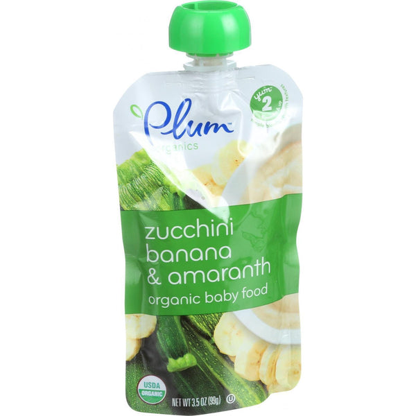 Plum Organics Baby Food - Organic - Zucchini Banana and Amaranth - Stage 2 - 6 Months and Up - 3.5 oz - Case of 6
