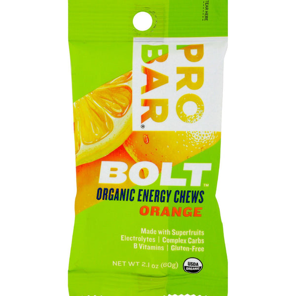 Probar Bolt Energy Chews - Organic Orange - 2.1 oz - Case of 12