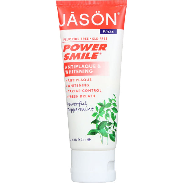 Jason Natural Products Toothpaste - Powersmile - Antiplaque and Whitening - Powerful Peppermint - Fluoride-Free - 3 oz - case of 12