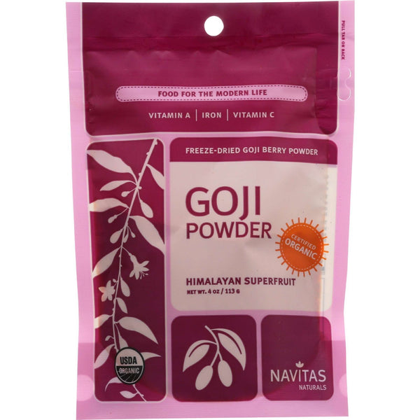 Navitas Naturals Goji Berry Powder - Organic - Freeze-Dried - 4 oz - case of 12