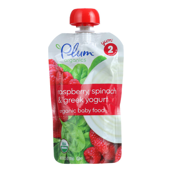 Plum Organics Baby Food - Organic - Raspberry Spinach and Greek Yogurt - Stage 2 - 6 Months and Up - 3.5 .oz - Case of 6