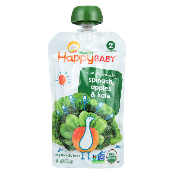 Happy Baby Organic Stage 2 Baby Food - Apple - Spinach & Kale Pouch - Case of 16 - 4 oz