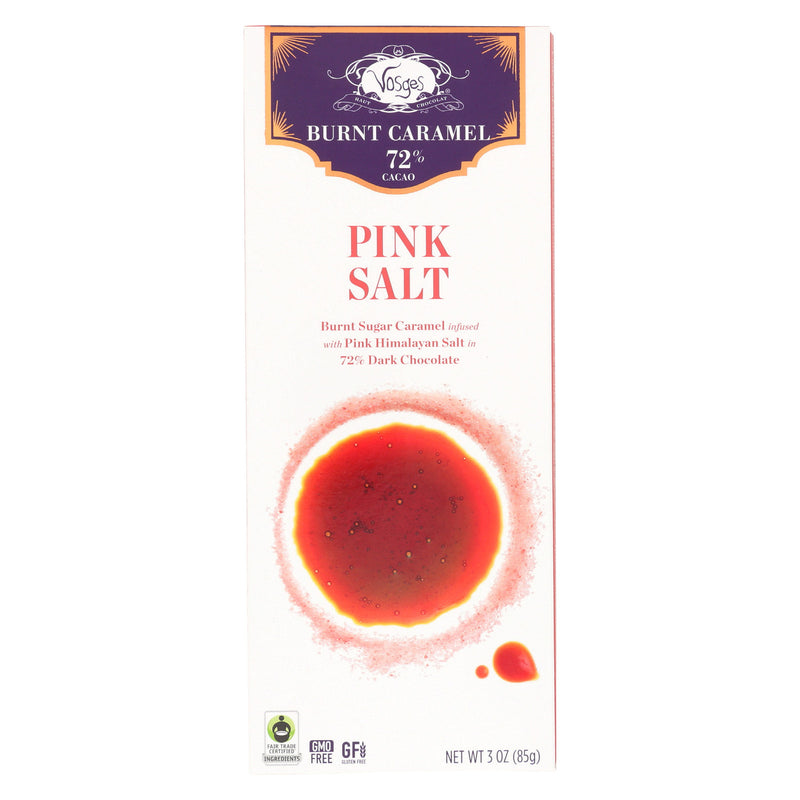 Vosges Haut-Chocolat 72% Cocoa Burnt Caramel Bar - Pink Salt - Case of 12 - 3 oz