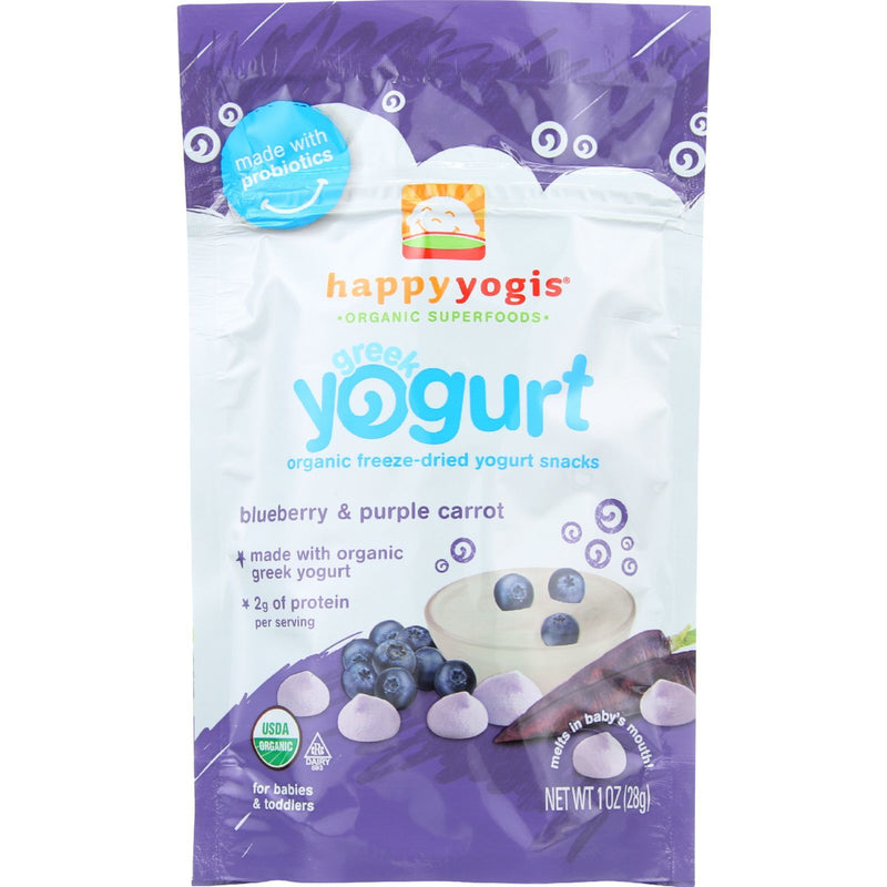 HappyYogis Yogurt Snacks - Organic - Freeze-Dried - Greek - Babies and Toddlers - Blueberry and Purple Carrot - 1 oz - case of 8