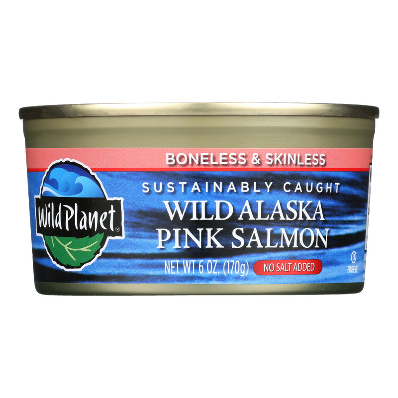Wild Planet Wild Alaskan Pink Salmon - No Salt Added - Case of 12 - 6 oz.