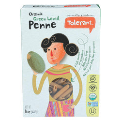 Tolerant Simply Legumes Green Lentil Pasta - Penne - Case of 6 - 8 oz.