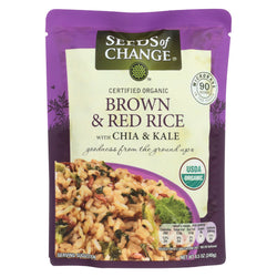 Seeds of Change Organic Brown and Red Rice with Chia and Kale - Case of 12 - 8.5 oz