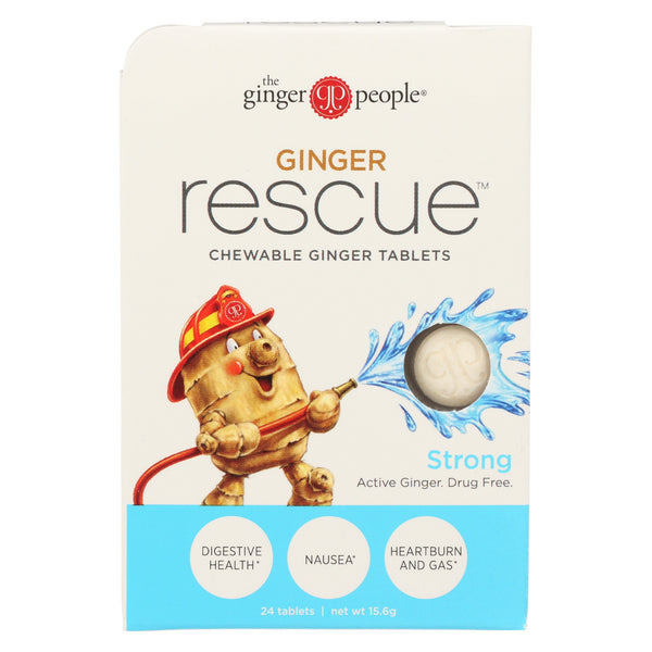 Ginger People Ginger Rescue - Strong - 24 Chewable Tablets - Case of 10