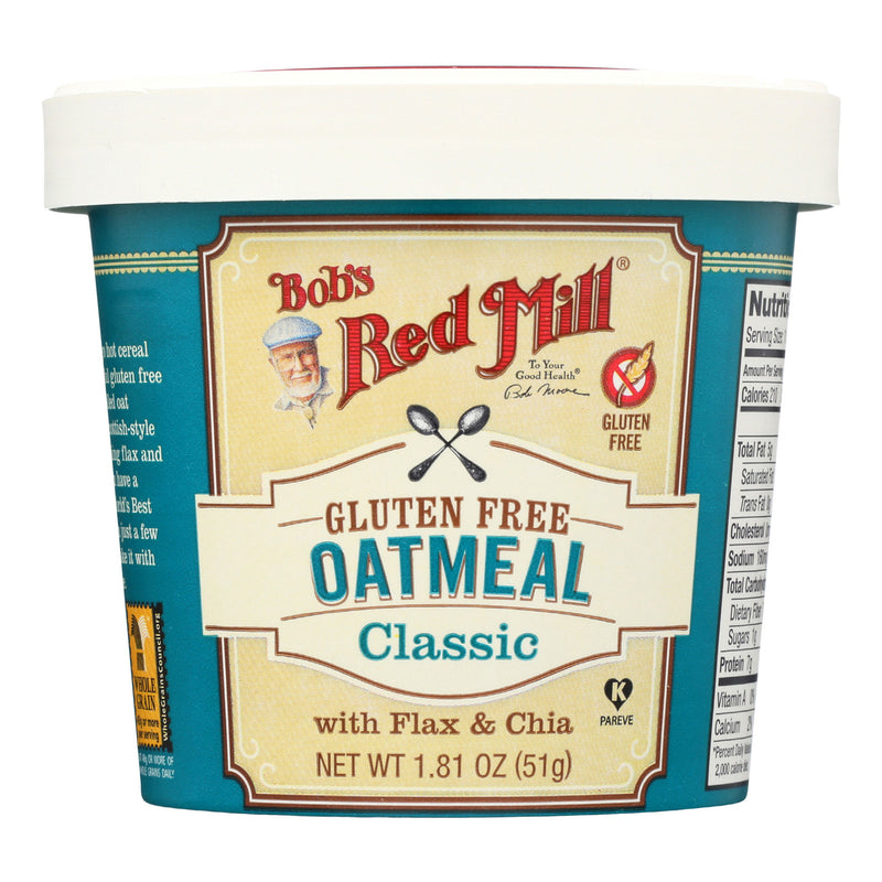 Bob's Red Mill - Gluten Free Oatmeal Cup, Classic with Flax/Chia - 1.81 oz - Case of 12