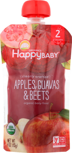 Happy Baby Happy Baby Clearly Crafted - Apples - Guavas and Beets - Case of 16 - 4 oz.