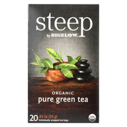 Steep By Bigelow Organic Green Tea - Pure Green - Case of 6 - 20 BAGS