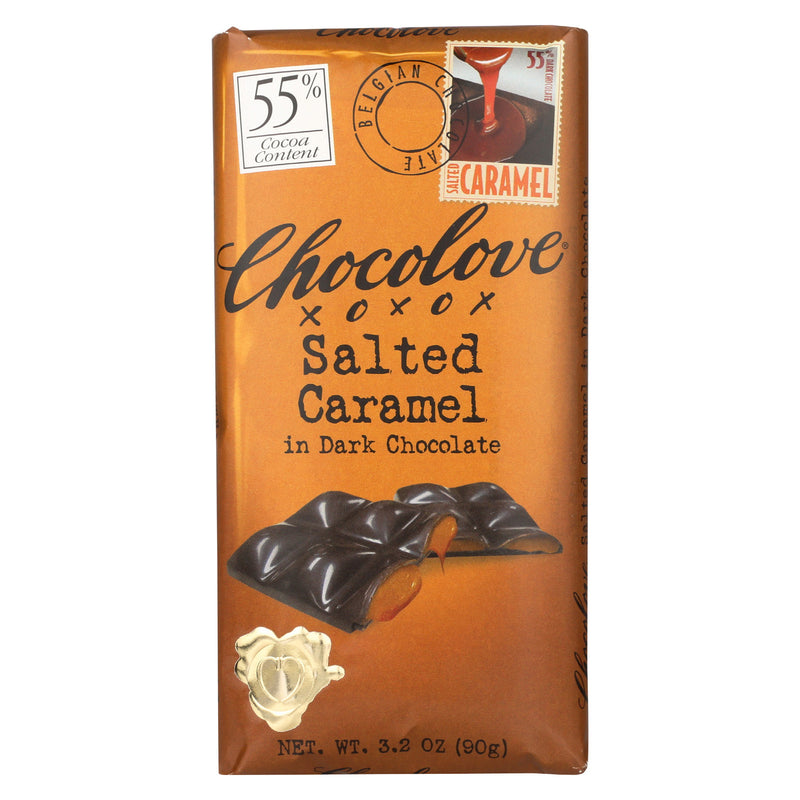 Chocolove Xoxox - Dark Chocolate Bar - Salted Caramel - Case of 10 - 3.2 oz