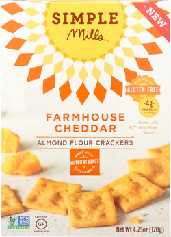 Simple Mills Farmhouse Cheddar Almond Flour Crackers - Case of 6 - 4.25 oz.