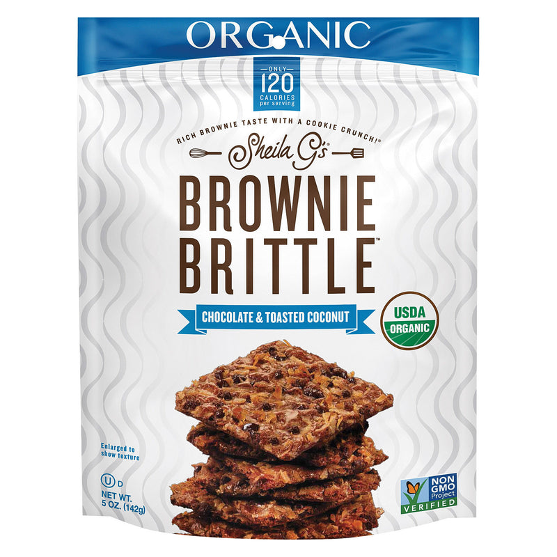 Sheila G's Organic Brownie Brittle - Chocolate and Toasted Coconut - Case of 12 - 5 oz.