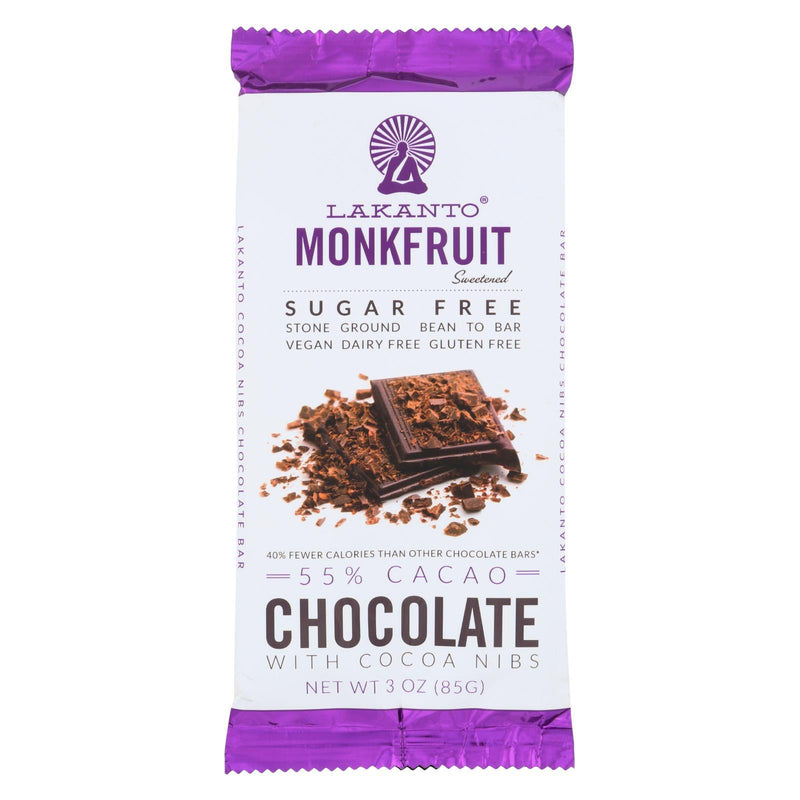 Lakanto - Monkfruit Sweetened Chocolate Bar - Dark Chocolate with Cacao Nibs - Case of 8 - 3 oz.