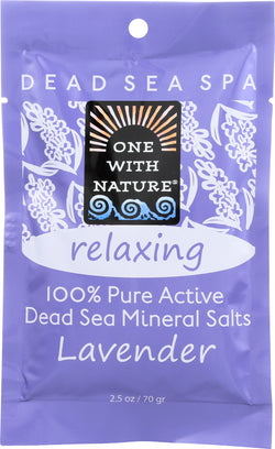 One With Nature Relaxing Lavender Dead Sea Mineral - Salt Bath - Case of 6 - 2.5 oz.