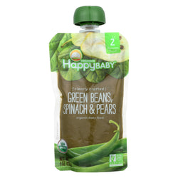 Happy Baby Organic Stage 2 Baby Food - Banana - Spinach - Pears - Case of 16 - 4 oz