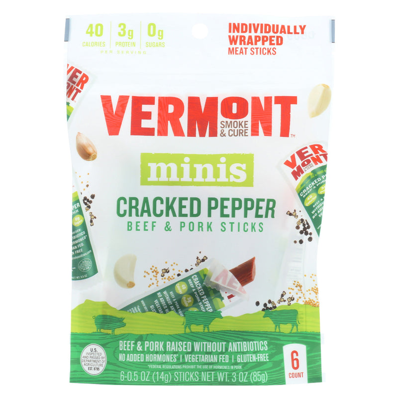 Vermont Smoke and Cure Beef & Pork Stick - Cracked Pepper - Case of 8 - 6/.5 oz