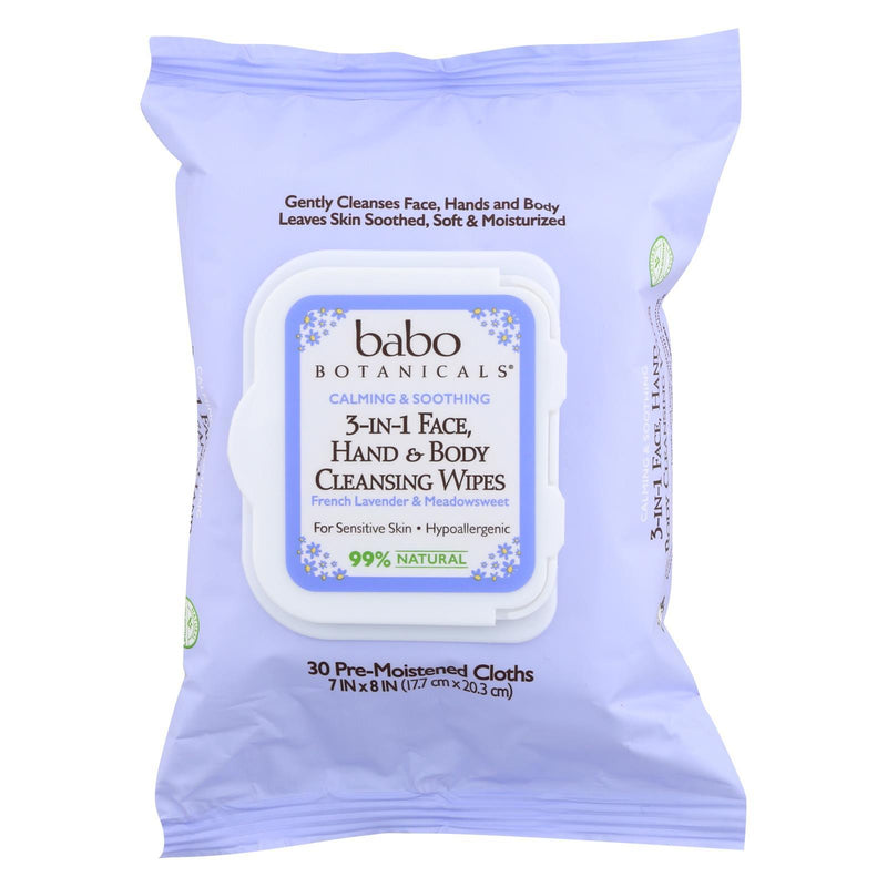 Babo Botanicals - Hand and Body Cleansing Wipes - Lavender and Meadowsweet - Case of 4 - 30 Count