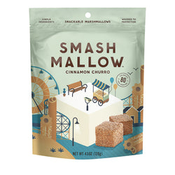 Smashmallow Snackable Marshmallows - Cinnamon Churro - Case of 12 - 4.5 oz