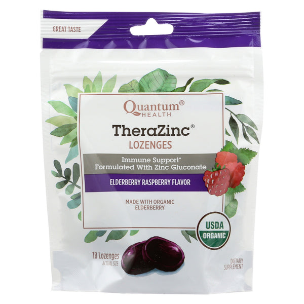 Quantum Research Zinc Lozenges - Elderberry Raspberry - 18 count