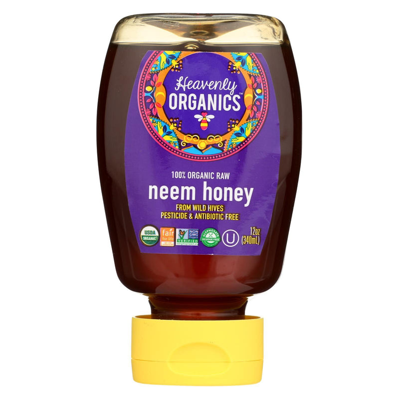 Heavenly Organics Honey - 100% Organic Raw Neem Squeeze Honey - Case of 6 - 12 oz.