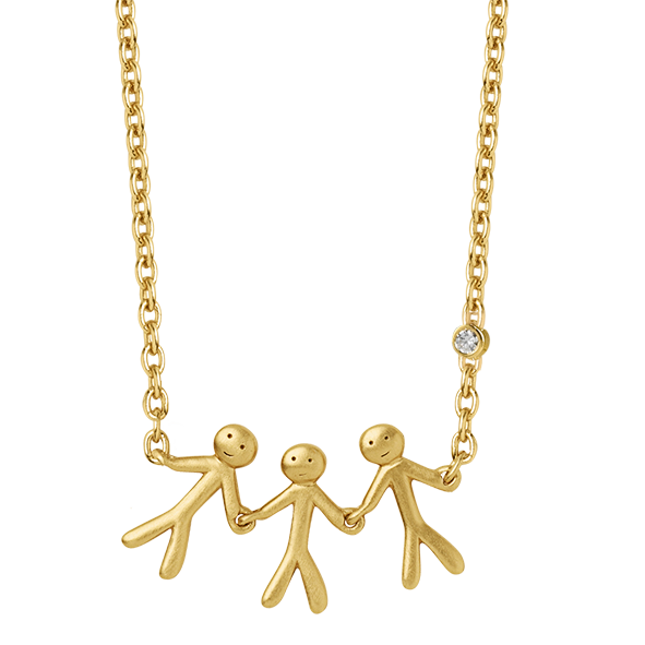 Fine - Family 3 necklace - solid gold